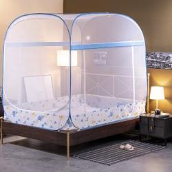 初心 2020新款大頂免安裝蚊帳加高蒙古包 藍色飄葉