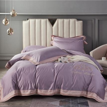 星尚家纺 2020春夏新款60长绒棉简约系列四件套 曼蒂-酱紫