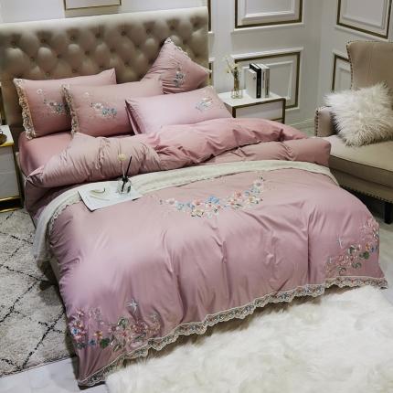 英镑家纺 2020新款水洗真丝全棉蕾丝花边四件套床单款床笠款