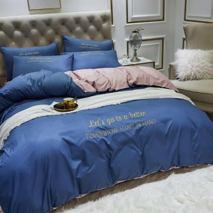 英镑家纺 2021新款双面水洗真丝简约刺绣四件套床单款床笠款