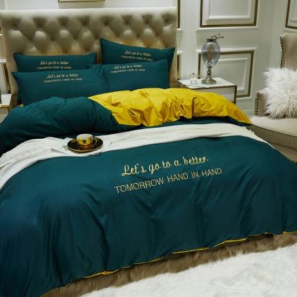 英镑家纺 2020新款双面水洗真丝简约刺绣四件套床单款床笠款