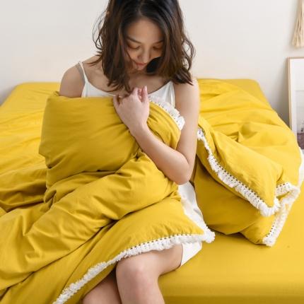 KA家纺 2020高端全棉水洗棉流苏花边四件套 柠檬黄