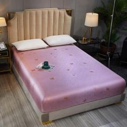 (總)愛思凱 2020新款水洗600D提花冰絲席床笠涼席
