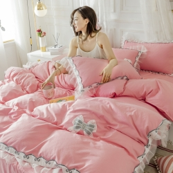 (总)2020新款水洗棉公主风蕾丝花边绣花蝴蝶结床单款四件套
