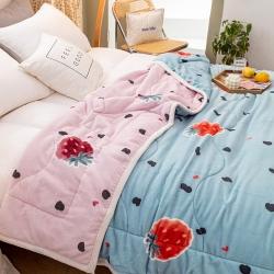 (被窝)牛奶绒三层复合毯加厚保暖法莱绒毛毯时尚AB版软床垫