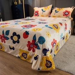 (总)爱思凯2021款360克加厚云貂绒法莱绒牛奶绒花边床单