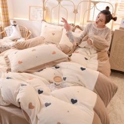 (总)河马制造 2020新款牛奶绒四件套法莱绒水晶绒四件套