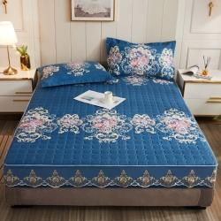 植物阳绒夹棉床笠全包防滑加厚席梦思防尘床垫保护套 床罩 单件