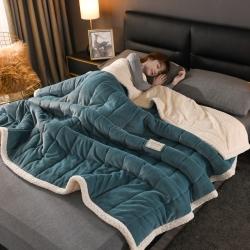 爆款·加厚三层夹棉牛奶绒贝贝绒毯冬季保暖午睡法莱绒羊羔绒毛毯