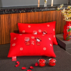 (总)浩宇家纺新款婚庆全棉枕芯刺绣款羽丝绒纯棉立体枕头大红色