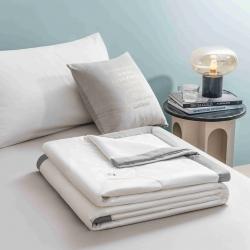 抗菌防螨水洗真丝棉花被夏被可水洗空调被夏季薄被子雪月白