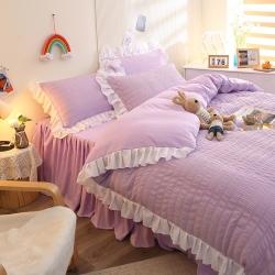 2021新款 韩版花边少女心四件套泡泡纱床裙床单水洗棉套件