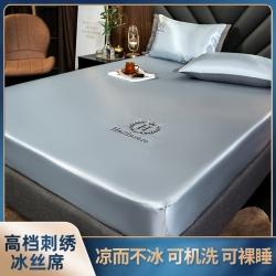 (总)乐视家纺无印纯色床笠款冰丝凉席三件套可水洗机洗
