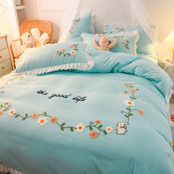 (总)美澳 2021新款韩版刺绣床裙四件套床单床笠四件套