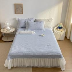 (总)城堡21可水洗冰丝席凉席刺绣凉豆豆凉感床单床笠 三件套