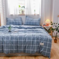 恋人优选 良品纯棉水洗色织四件套床单床笠三件套床上用品