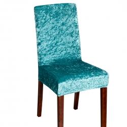 2021跨境纯色金钻绒连体椅子套居家四季通用孔雀绿