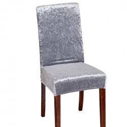 2021跨境纯色金钻绒连体椅子套居家四季通用银灰色