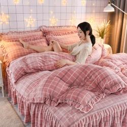 (总)睡美人2021韩版牛奶绒床裙印花四件套