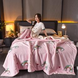 (总)双层加厚法莱绒羊羔绒毛毯盖毯珊瑚绒牛奶绒床单儿童毯
