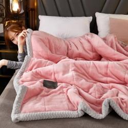 暖暖家纺·加厚三层夹棉牛奶绒毯贝贝绒毯冬季保暖午睡法莱绒毛毯