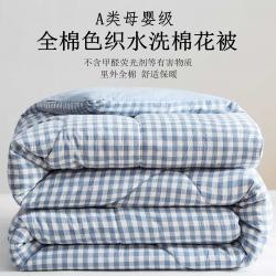 暖阳 2021新款色织全棉水洗棉冬被春秋被夏被棉花被 欢乐