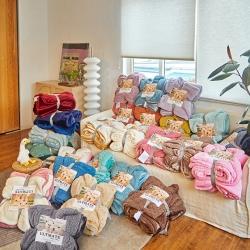 (总)欧邦新店爆款纯色双层羊羔绒毛毯跨境外贸夏尔巴法莱绒毯子
