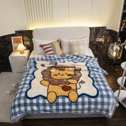 凤凰林毛毯 2021新款拉舍尔毛毯 小狮子-蓝