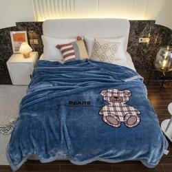 凯轩毛毯 2021新款拉舍尔毛毯 小熊蓝