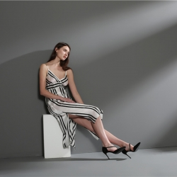 茵围 重磅真丝系列黑白条纹吊带裙