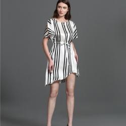 茵围 重磅真丝系列黑白条纹连衣裙