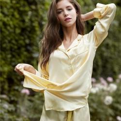 茵围 进口丝绸绉花缎系列刺绣三件套眼罩款鹅黄