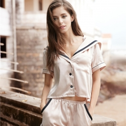 茵围 进口丝绸绉花缎系列海军风短袖套装果冻粉