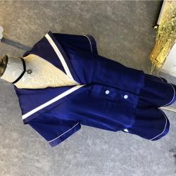 茵围 进口丝绸绉花缎系列海军风短袖套装皇室蓝