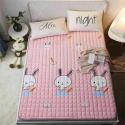 可定做水晶絨床墊防滑保暖床褥床護墊機洗軟墊薄墊榻榻米可愛小兔