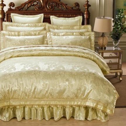 好眠好梦家纺 欧式刺绣花夹棉床笠式床罩床裙四件套 豪庭盛世