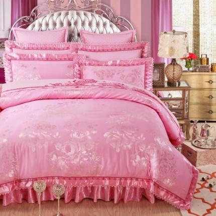 好眠好梦家纺 欧式刺绣花夹棉床笠式床罩床裙四件套 莱茵舞曲