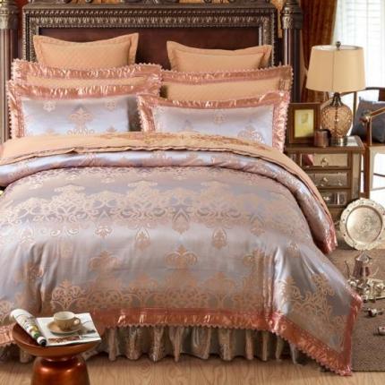 好眠好梦家纺 欧式刺绣花夹棉床笠式床罩床裙四件套 帕芙