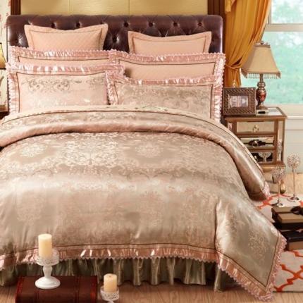好眠好梦家纺 欧式刺绣花夹棉床笠式床罩床裙四件套 盛世宫廷