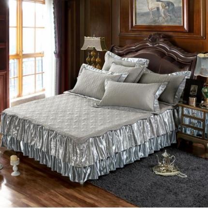 好眠好梦家纺 欧式夹棉床笠式/拆卸式床笠床裙 灰色
