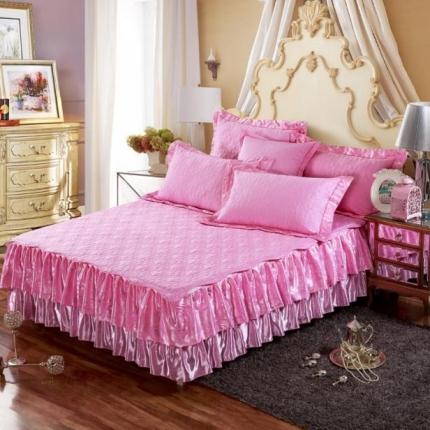 好眠好梦家纺 欧式夹棉床笠式/拆卸式床笠床裙 粉红色