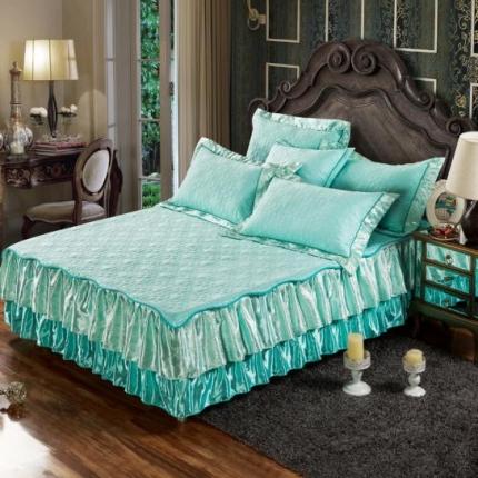 好眠好梦家纺 欧式夹棉床笠式/拆卸式床笠床裙 水绿色