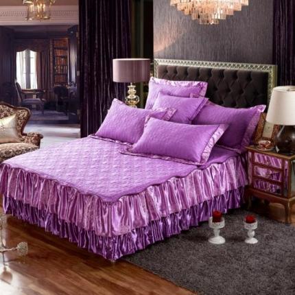 好眠好梦家纺 欧式夹棉床笠式/拆卸式床笠床裙 紫色