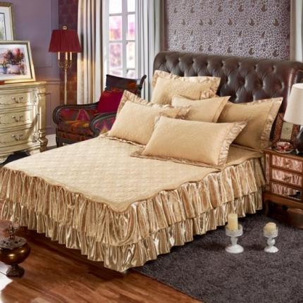 好眠好梦家纺 欧式夹棉床笠式/拆卸式床笠床裙 驼色