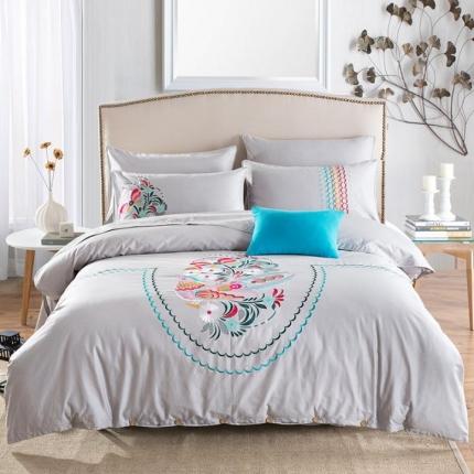 好眠好梦家纺 高档精梳全棉刺绣款四件套 鸟语花香-浅灰