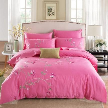 好眠好梦家纺 高档精梳全棉刺绣款四件套 馨香 -粉红