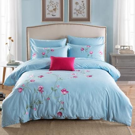好眠好梦家纺 高档精梳全棉刺绣款四件套 馨香 -天蓝