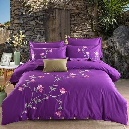 好眠好梦家纺 高档精梳全棉刺绣款四件套 馨香-紫色