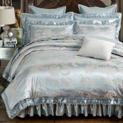 好眠好梦家纺 欧式刺绣花夹棉床笠式床罩床裙四件套 卡地罗
