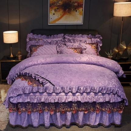 好眠好梦2019迷迭香暖绒被套不夹棉床裙四件套迷迭香-优雅紫